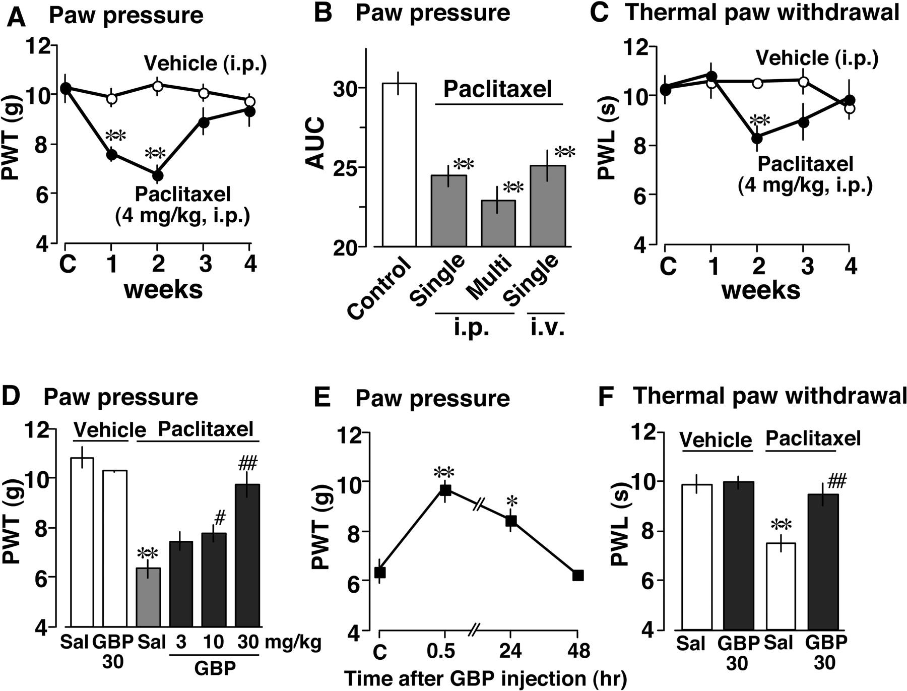 Inhibition of Paclitaxel-Induced A-Fiber Hypersensitization